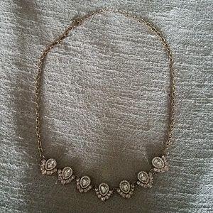 Pink rhinestone gold statement necklace